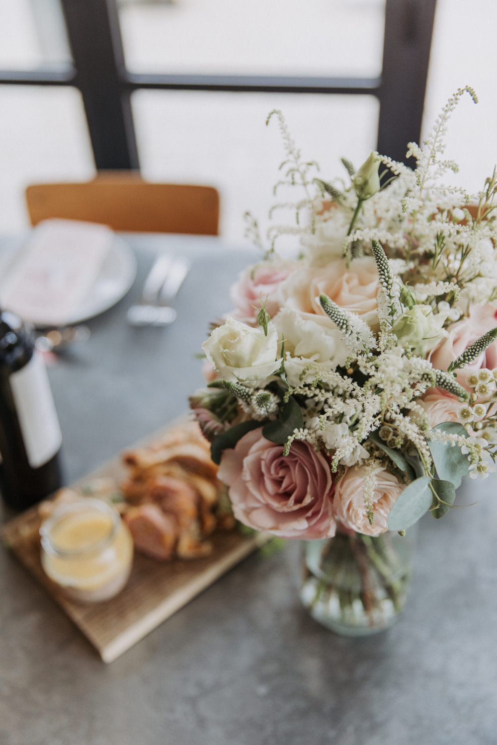 Bouquet Flowers Bride Bridal Pale Pink Rose Eucalyptus Field Kitchen Wedding Siobhan Amy Photography