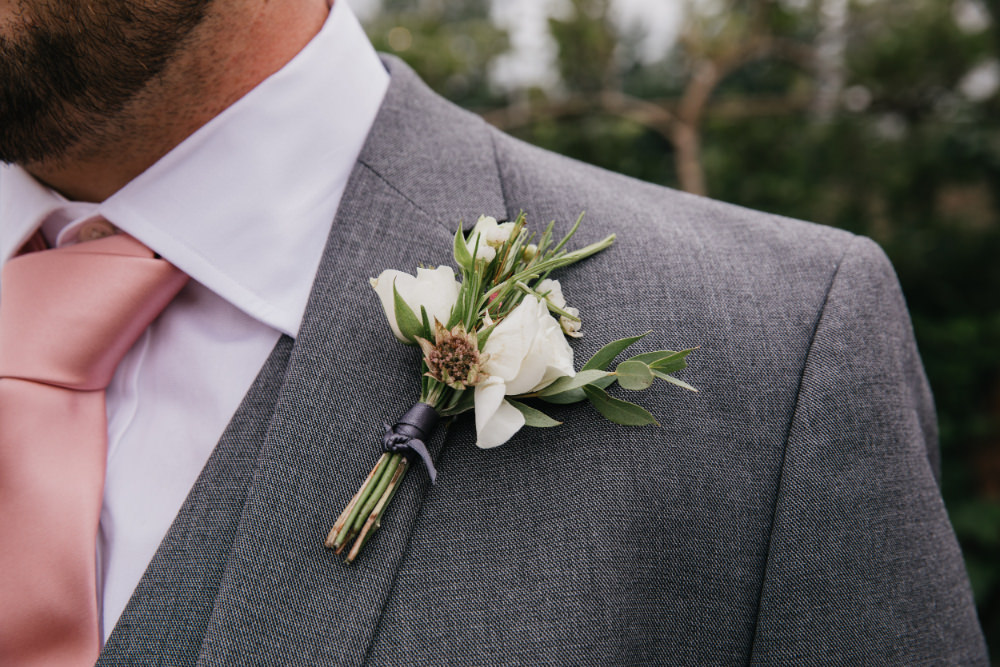 Buttonhole Flowers Groom Field Kitchen Wedding Siobhan Amy Photography
