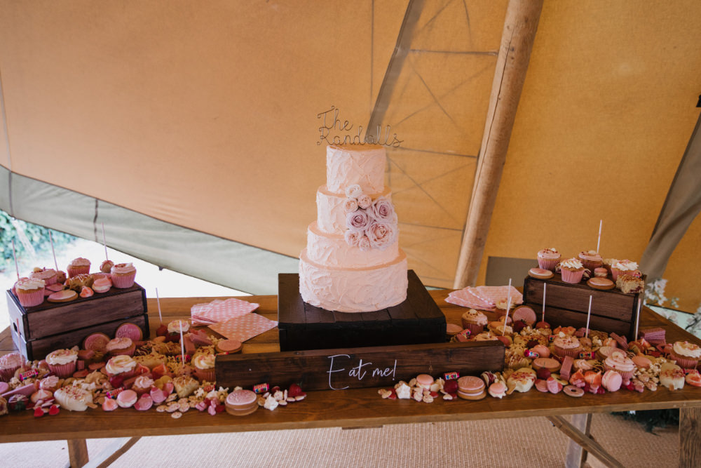 Cake Dessert Table Field Kitchen Wedding Siobhan Amy Photography