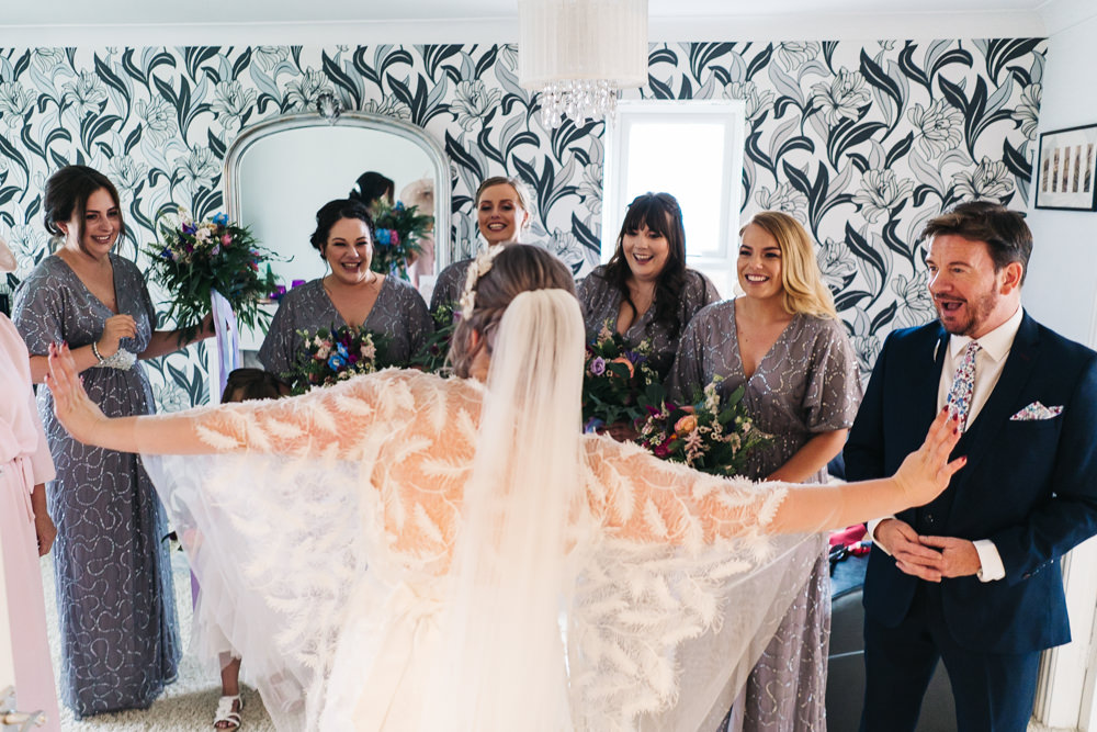 Dress Gown Bride Bridal Butterfly Sleeves Feather Veil Hammer and Pincers Wedding Sally T Photography