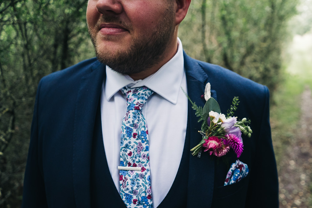 Groom Suit Navy Pattern Tie Hammer and Pincers Wedding Sally T Photography