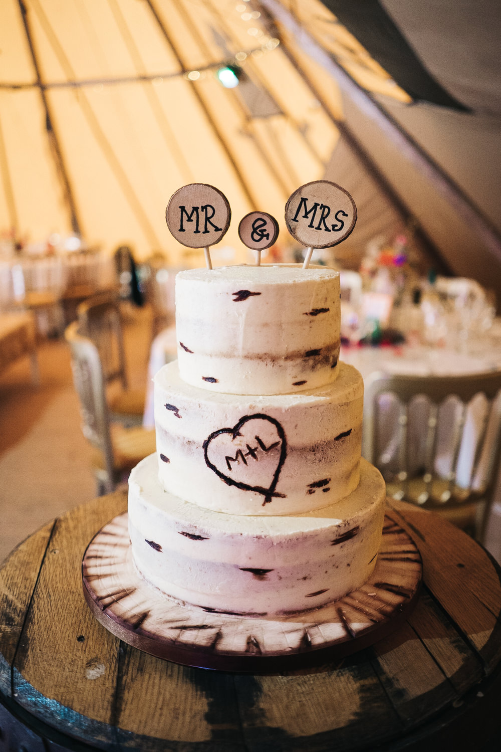 Wood Cake Semi Naked Log Topper Hammer and Pincers Wedding Sally T Photography