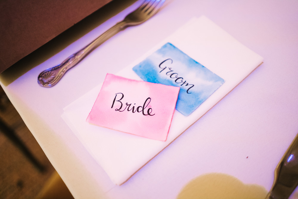 Place Name Card Watercolour Hammer and Pincers Wedding Sally T Photography