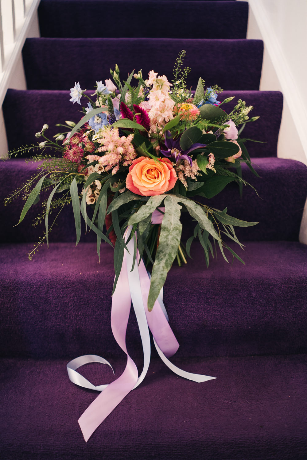 Bouquet Flowers Bride Bridal Ribbons Rose Astilbe Colourful Hammer and Pincers Wedding Sally T Photography