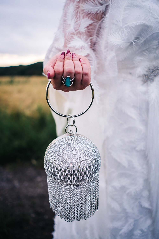 Disco Ball Bag Bride Bridal Hammer and Pincers Wedding Sally T Photography