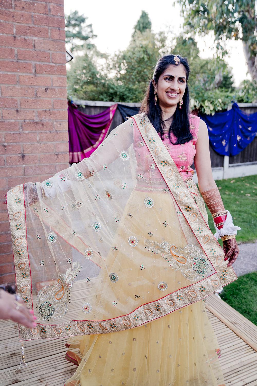 Pink Yellow Lengha Bride Bridal Indian Wedding UK Laura May Photography