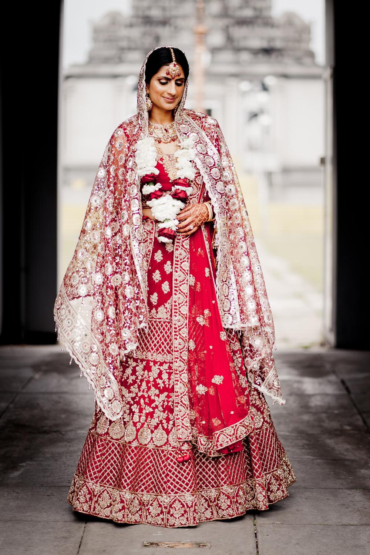 Red Gold Lengha Bride Bridal Indian Wedding UK Laura May Photography
