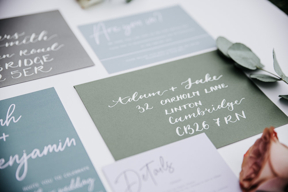 Micro Wedding Ideas Gareth J Photography Green Grey Calligraphy Stationery Invite Invitation