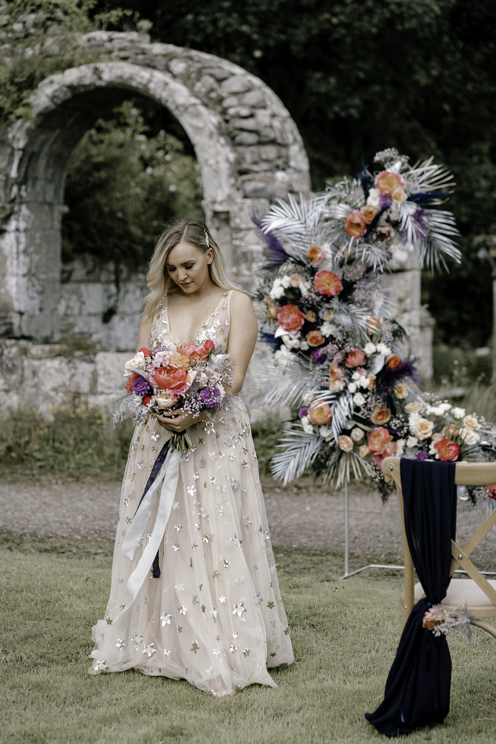 Midsummer Night's Dream Wedding Ideas Dani Louise Photography Dress Gown Bride Bridal Willowby Watters Orion Celestial Stars Starry Gold