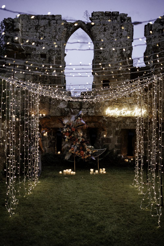 Crescent Moon Flowers Backdrop Decor Fairy Light Tunnel Midsummer Night's Dream Wedding Ideas Dani Louise Photography