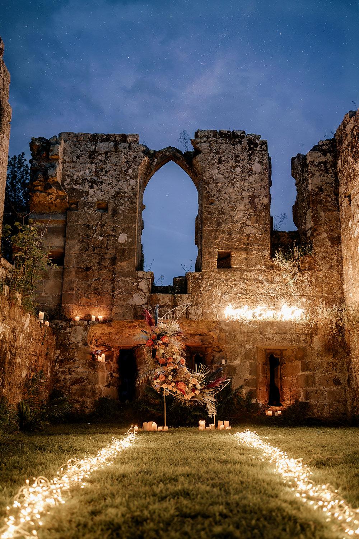Crescent Moon Flowers Backdrop Decor Fairy Lights Neon Sign Midsummer Night's Dream Wedding Ideas Dani Louise Photography