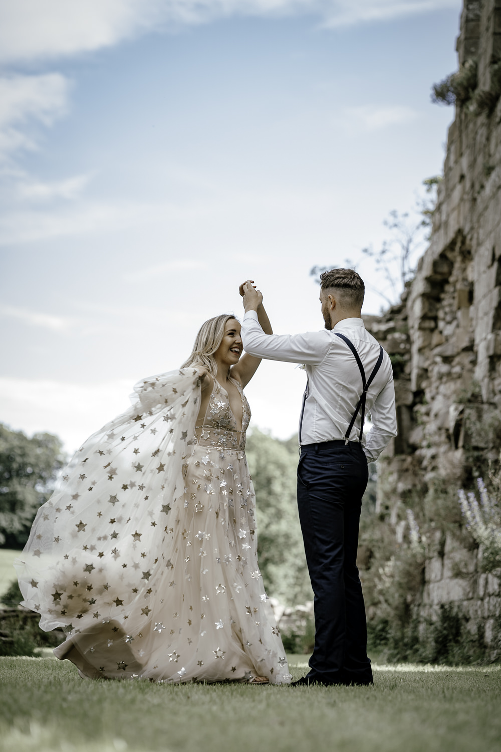 Dress Gown Bride Bridal Willowby Watters Orion Celestial Stars Starry Gold Midsummer Night's Dream Wedding Ideas Dani Louise Photography
