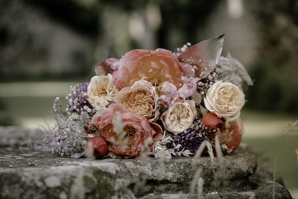 Bouquet Flowers Bride Bridal Peach Peony Rose Coral Midsummer Night's Dream Wedding Ideas Dani Louise Photography