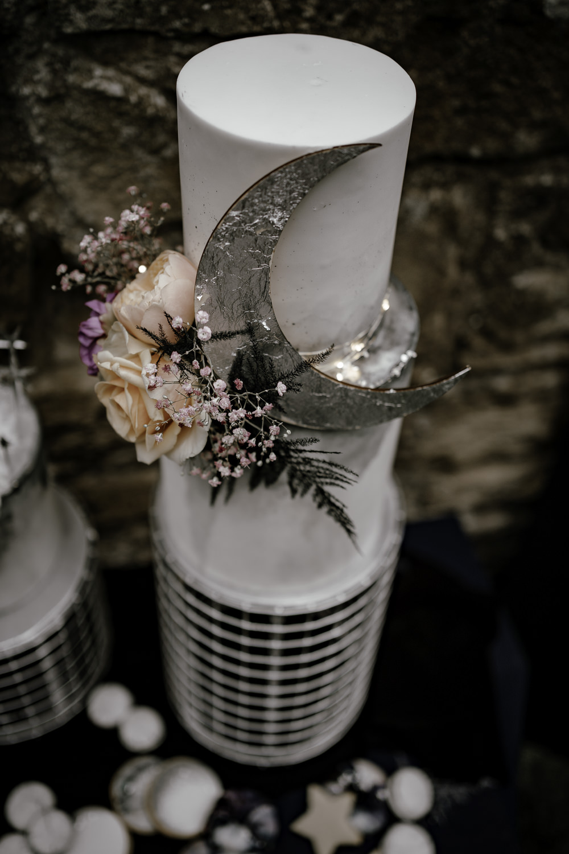 Iced Cake Macaron Celestial Flowers Moon Midsummer Night's Dream Wedding Ideas Dani Louise Photography