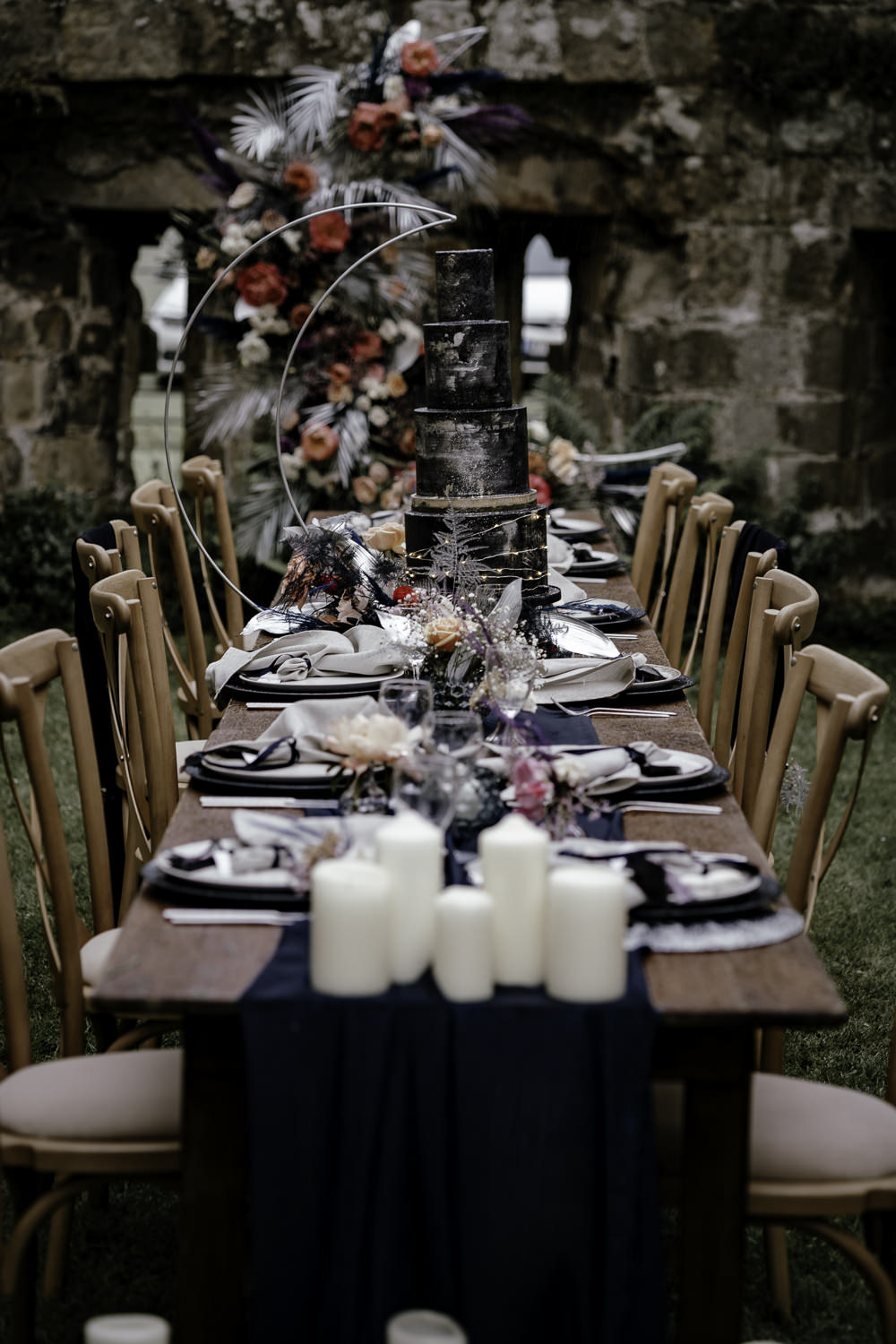 Table Tablescape Decor Candles Runner Navy Midsummer Night's Dream Wedding Ideas Dani Louise Photography