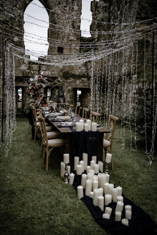 Fairy Light Tunnel Table Tablescape Decor Candles Runner Navy Midsummer Night's Dream Wedding Ideas Dani Louise Photography