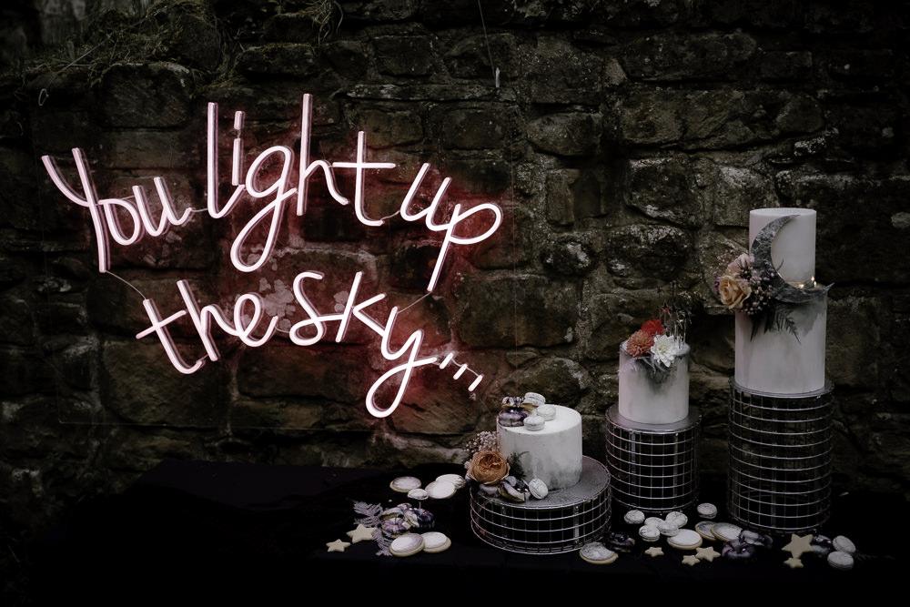 Iced Cake Macaron Celestial Flowers Moon Neon Light Sign Midsummer Night's Dream Wedding Ideas Dani Louise Photography