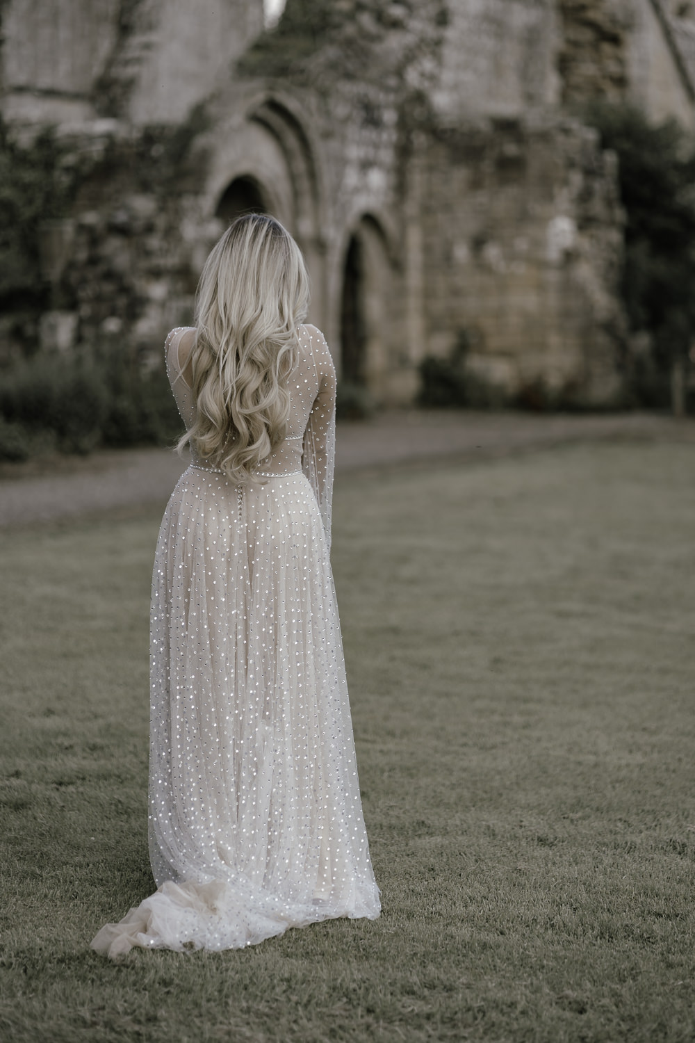 Dress Gown Bride Bridal Sparkle Gold Tulle Long Sleeves Midsummer Night's Dream Wedding Ideas Dani Louise Photography