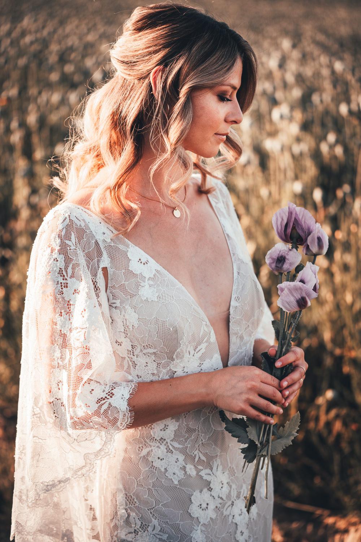 Bride Bridal Hair Style Half Up Half Down Poppy Field Wedding NT Creatives