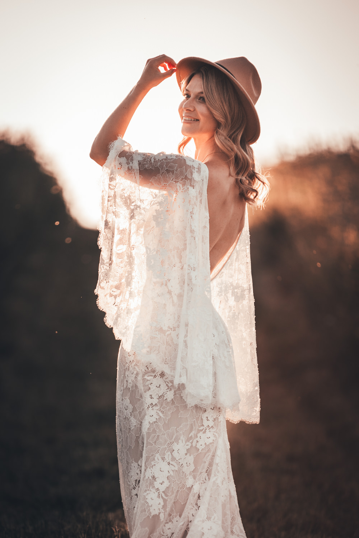 Bride Bridal Hat Fedora Dress Gown Bride Bridal Lace Sleeves Lillian West Boho Bohemian Poppy Field Wedding NT Creatives