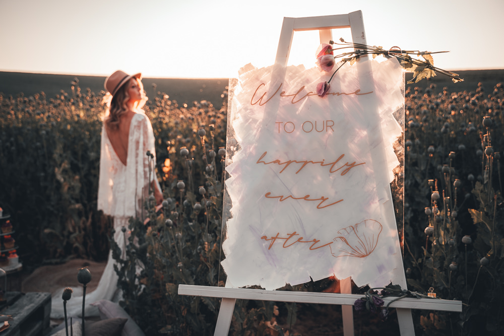 Sign Signs Sigange Acrylic Painted Calligraphy Poppy Field Wedding NT Creatives