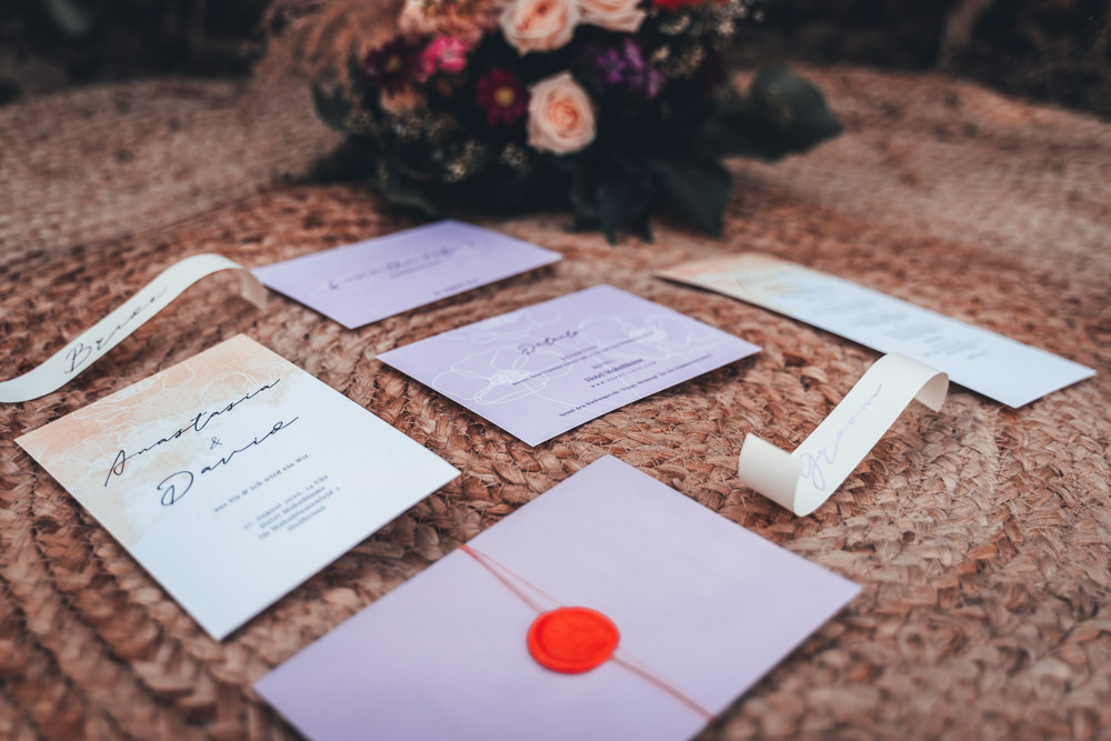 Stationery Invite Invitation Lilac Red Poppy Field Wedding NT Creatives