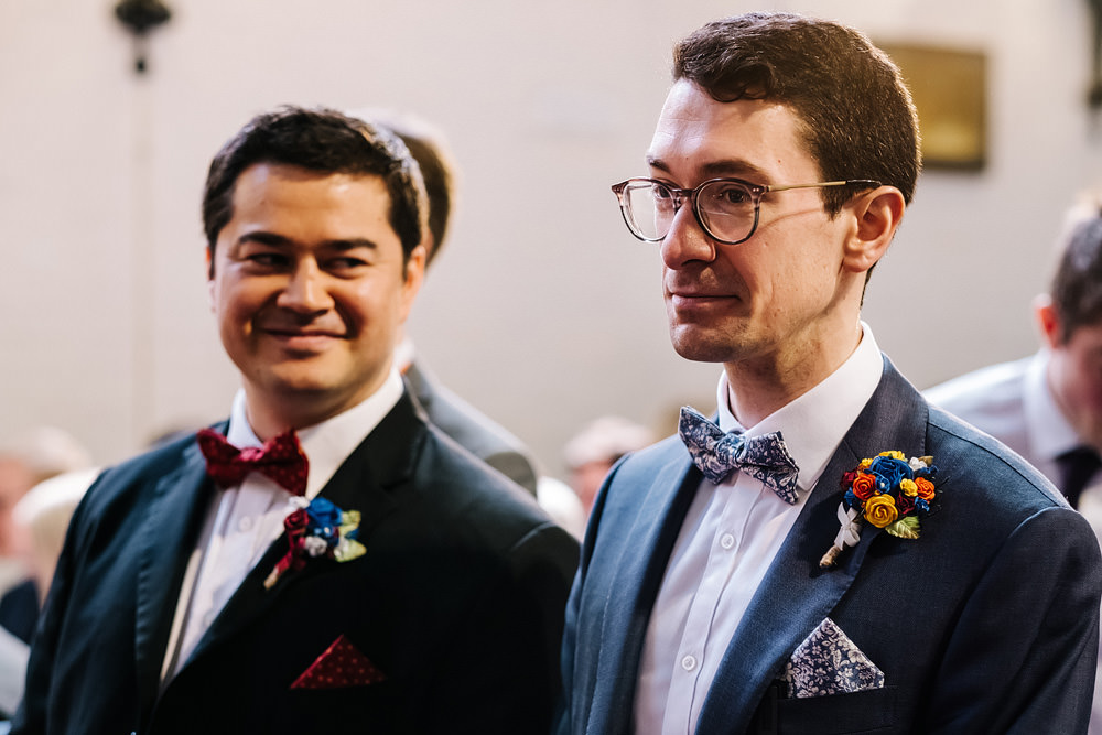 Groom Suit Navy Bow Tie Glasses Royal Hospital Chelsea Wedding Kristian Leven Photography