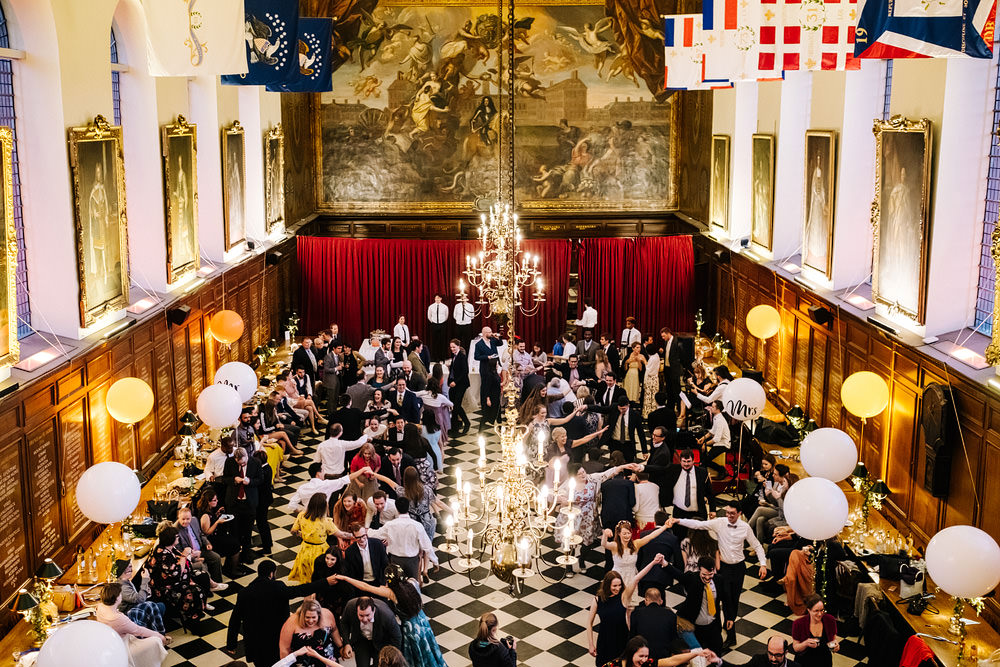 Long Tables Greenery Runner Helium Balloons Royal Hospital Chelsea Wedding Kristian Leven Photography
