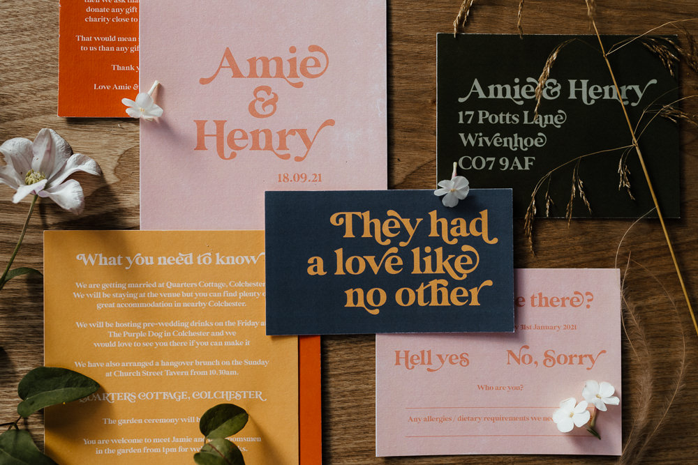 Stationery Invite Invitation Retro Flowers Small Wedding Ideas UK Caitlin and Jones