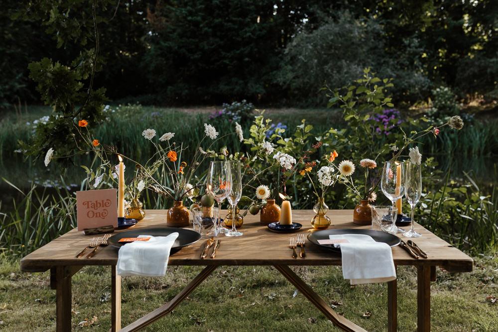 Table Tablescape Decor Flowers Candles Garden Small Wedding Ideas UK Caitlin and Jones