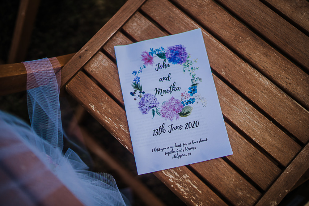 Order of Service Stationery Socially Distanced Wedding Tiffany Gage Photography