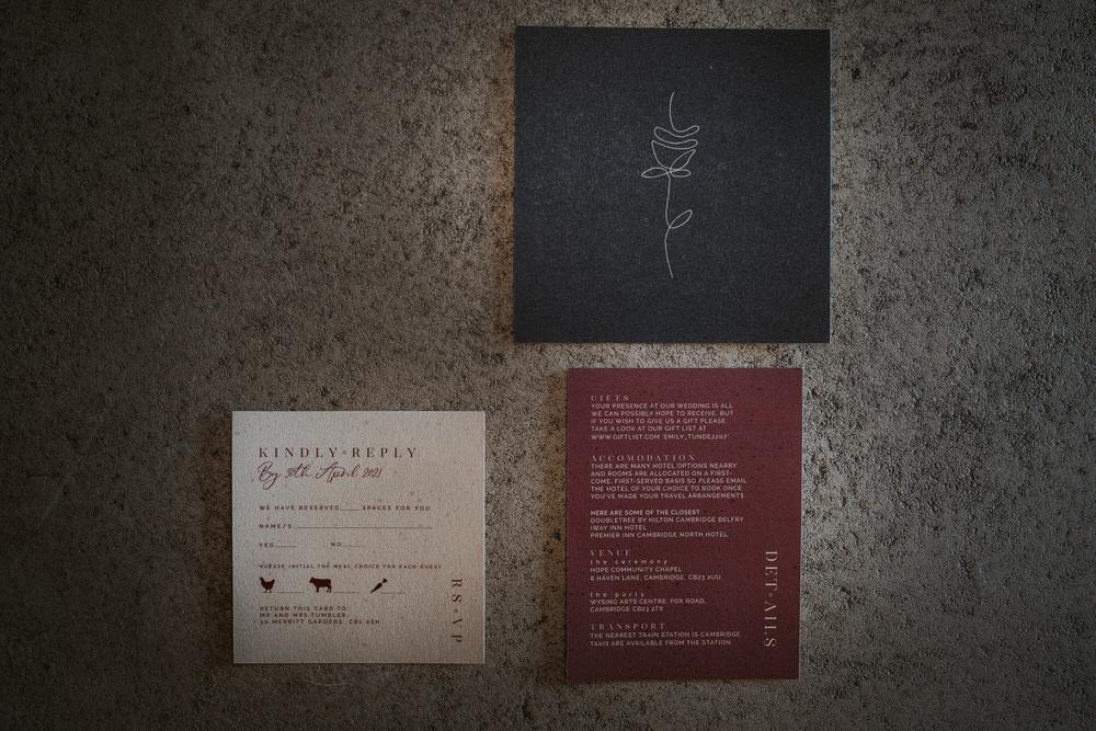 Art Wedding Ideas Tom Halliday Photography Stationery Invite Invitation Burgundy Navy