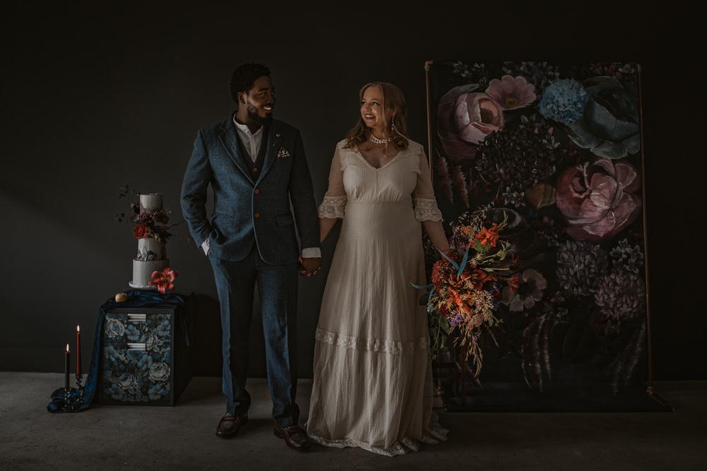 Art Wedding Ideas Tom Halliday Photography Backdrop Floral Painted Flowers Opulent Dramatic Navy Burgundy