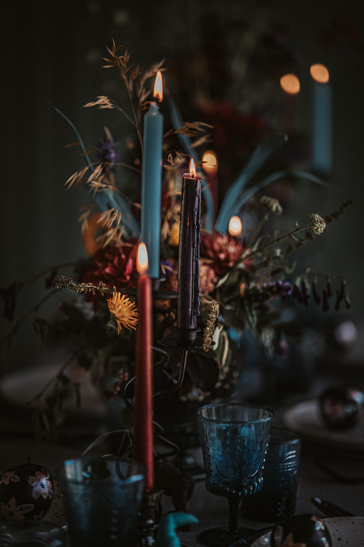 Flowers Centrepiece Decor Table Candles Jewel Tones Burgundy Blue Orange Art Wedding Ideas Tom Halliday Photography