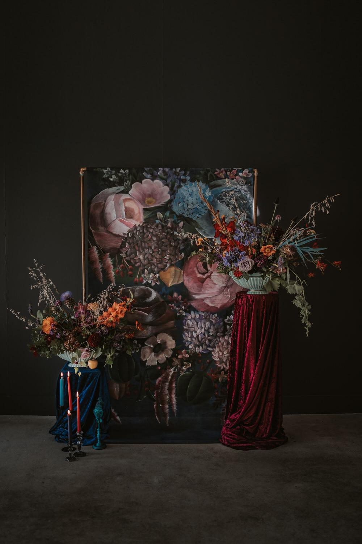 Backdrop Floral Painted Flowers Opulent Dramatic Navy Burgundy Art Wedding Ideas Tom Halliday Photography