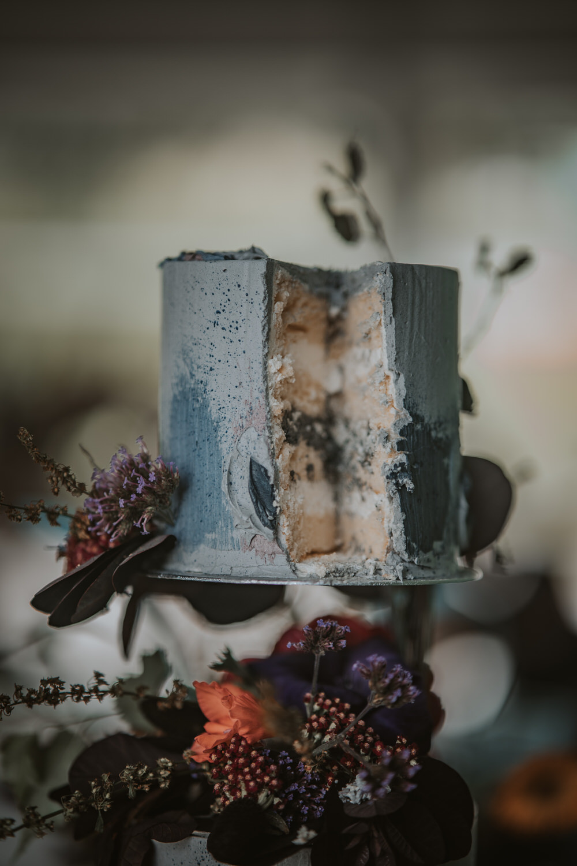 Tall Cake Painted Flowers Texture Grey Art Wedding Ideas Tom Halliday Photography