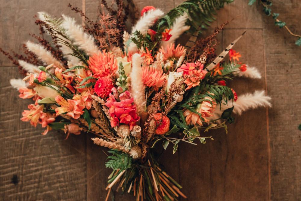 Boho Wedding Ideas Roshni Photography Dried Flowers Bouquet Bride Bridal Grass Wheat Dahlia Orange