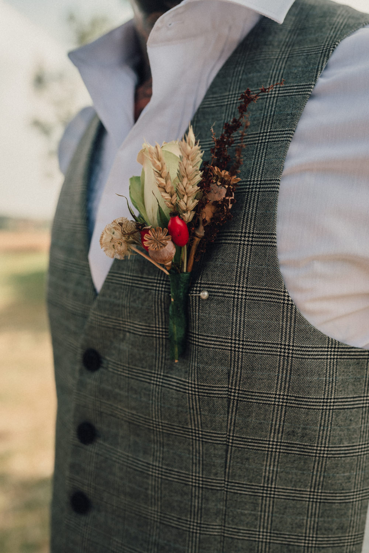 Groom Buttonhole Dried Flowers Wheat Boho Wedding Ideas Roshni Photography