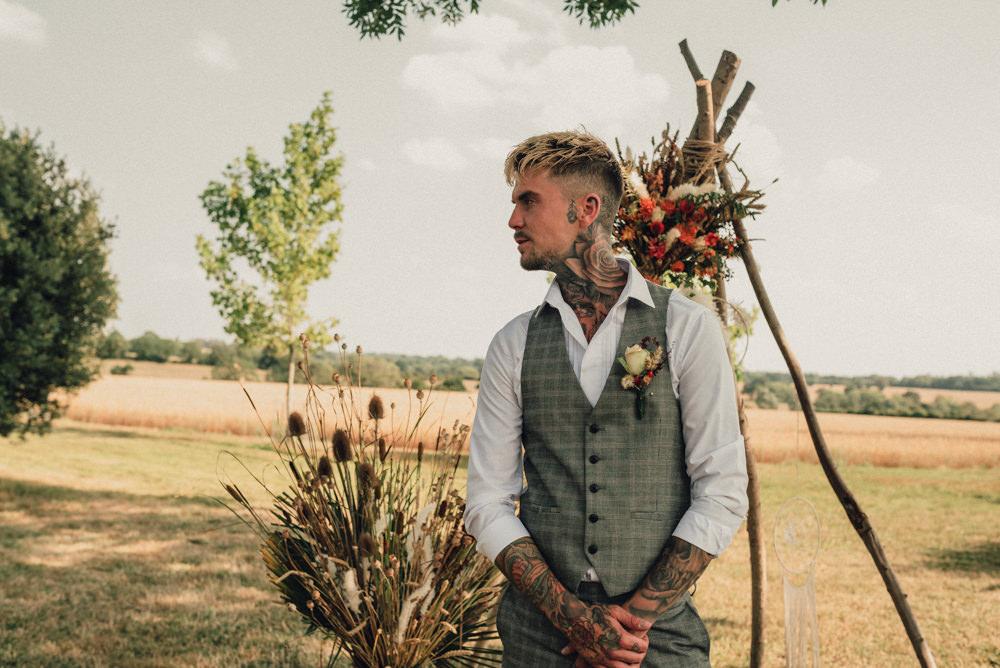 Groom Suit Grey Waistcoat Boho Wedding Ideas Roshni Photography