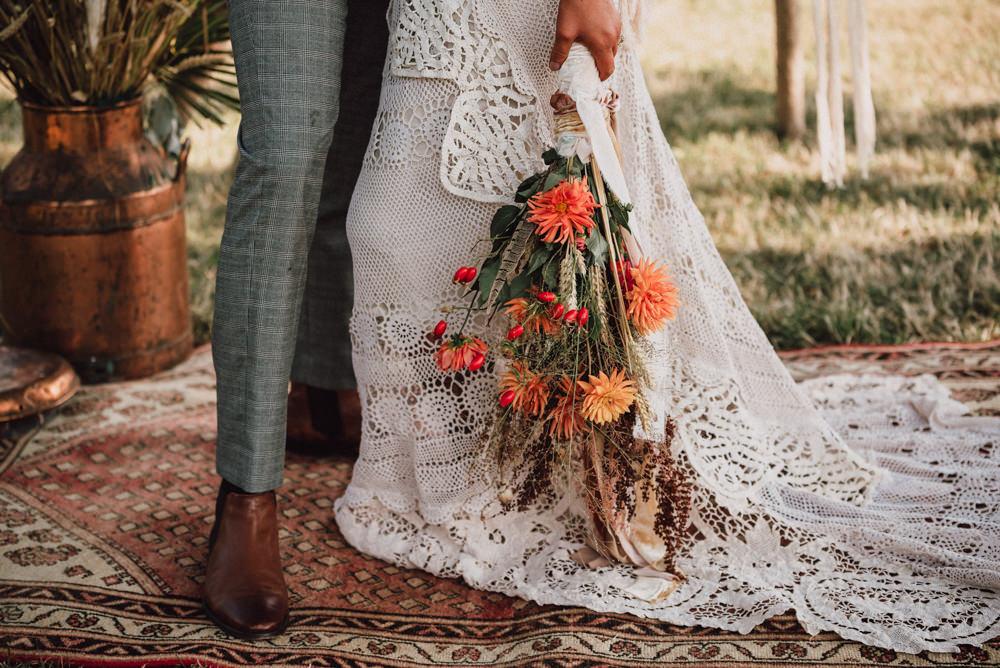 Dried Flowers Bouquet Bride Bridal Grass Wheat Dahlia Orange Boho Wedding Ideas Roshni Photography