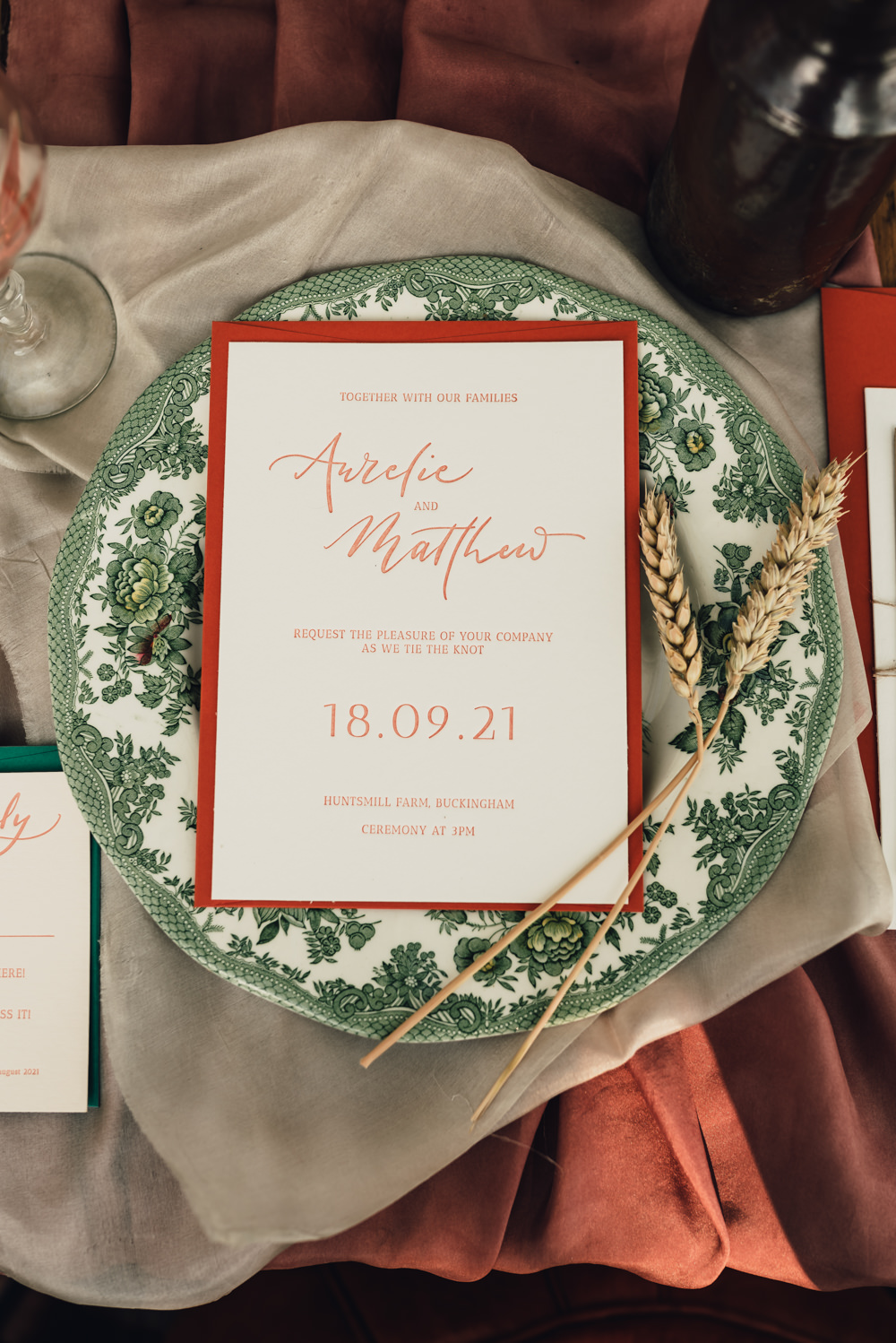 Place Setting Decor Floral Plate Menu Staionery Boho Wedding Ideas Roshni Photography
