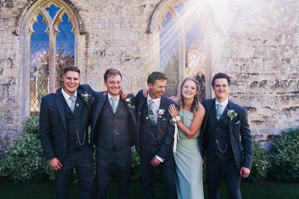 Groom Grey Tweed Suit Green Tie Buttonhole Flowers Groomsmen Castle View Wedding Sally T Photography