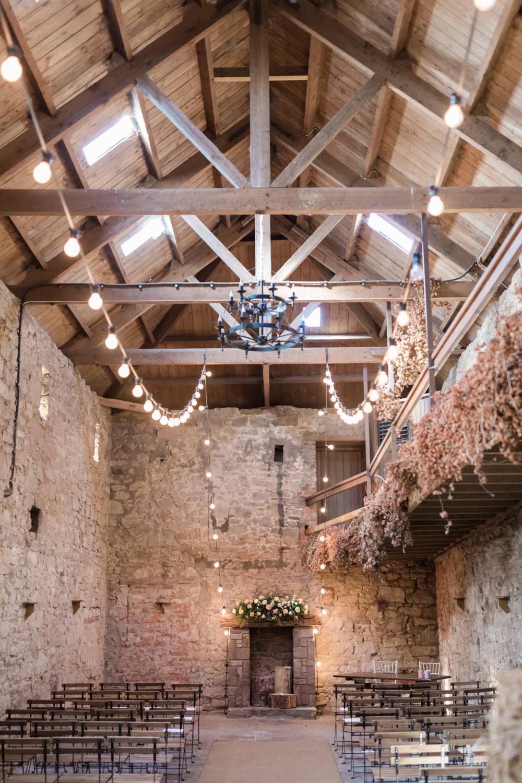 Doxford Barns Wedding Lara Frost Photography Lights Lighting Festoon Lights Ceremony