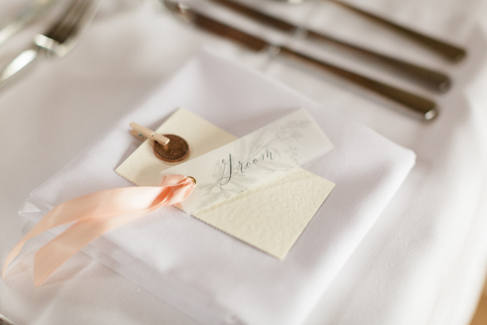Calligraphy Place Setting Name Card Doxford Barns Wedding Lara Frost Photography