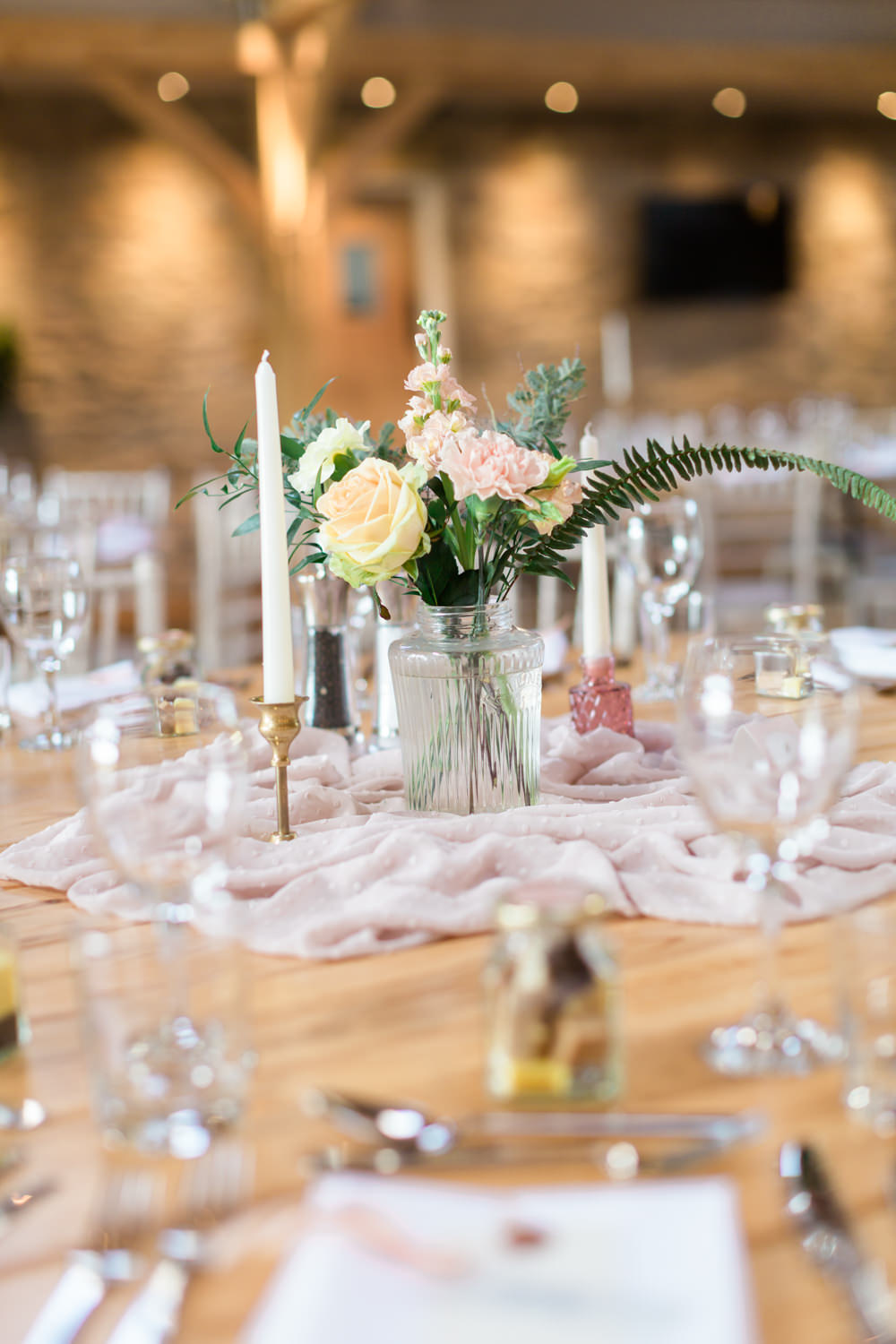 Centrepiece Flowers Silk Flowers Bottle Candle Stick Blush Pink Doxford Barns Wedding Lara Frost Photography