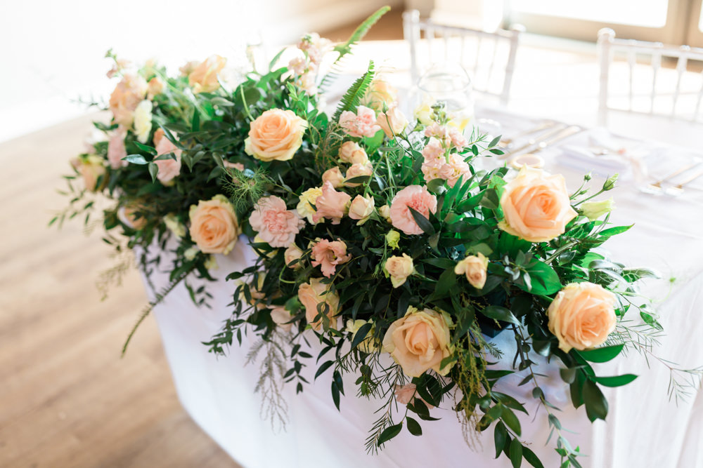 Top Table Flowers Greenery Blush Doxford Barns Wedding Lara Frost Photography