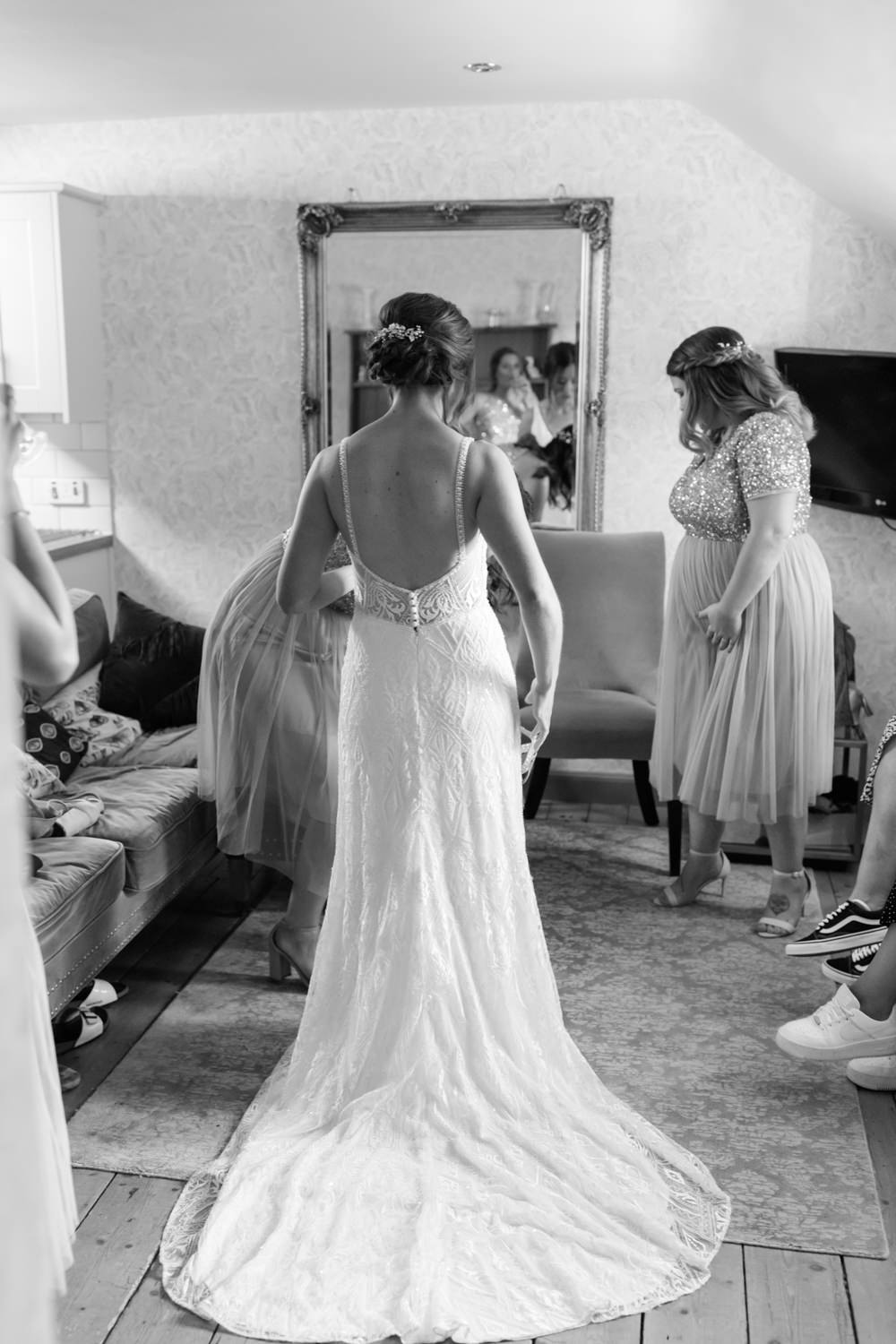 Dress Gown Bride Bridal Kenneth Winston Low Back Doxford Barns Wedding Lara Frost Photography
