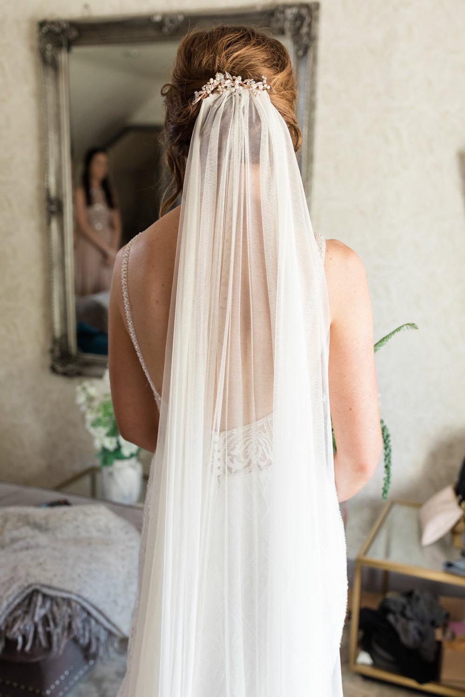 Dress Gown Bride Bridal Kenneth Winston Low Back Veil Doxford Barns Wedding Lara Frost Photography