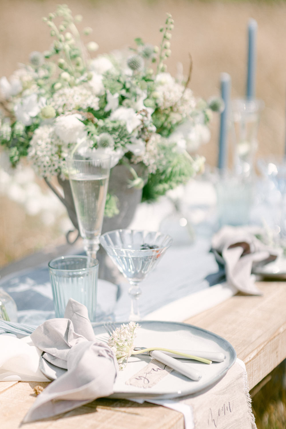 Family Elopement Ideas Sophie May Photo Table Tablescape Decor Flowers Candles Blue