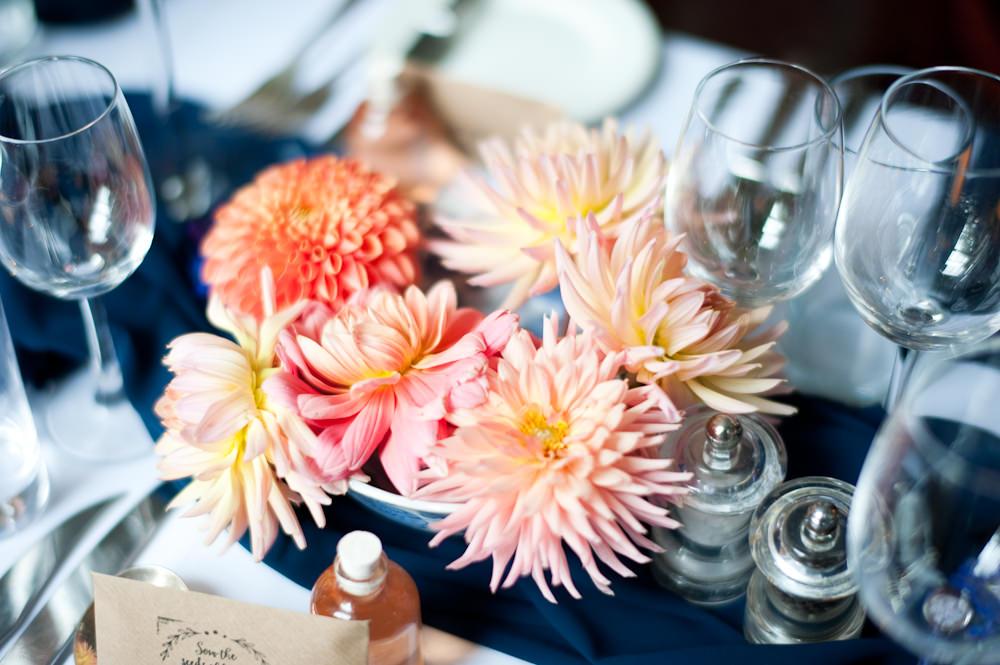 Coral Orange Dahlias Centrepiece Flowers Table Floral Wedding Rachael Connerton Photography